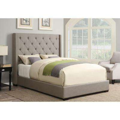 All-in-1 Taupe Queen Upholstered Bed