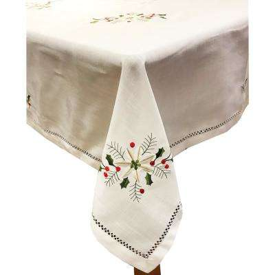 Holly Bouquet 60 in. x 120 in. Ivory 100% Polyester Tablecloth