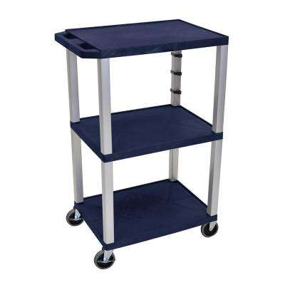 WT 42 in. H, A/V cart with nickel colored legs, navy shelves