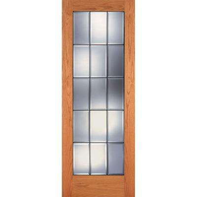 15 Lite Clear Bevel Patina Woodgrain Unfinished Cherry Interior Door Slab