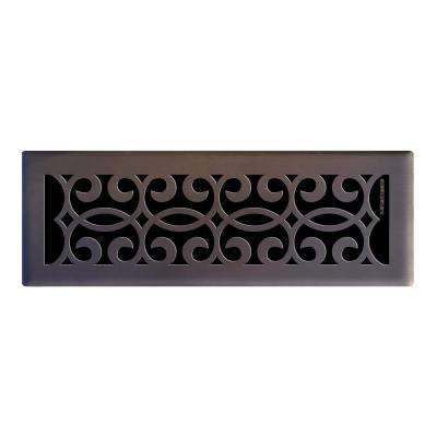 4 in. x 14 in. Classic Scroll Floor Register in Oil Rubbed Bronze