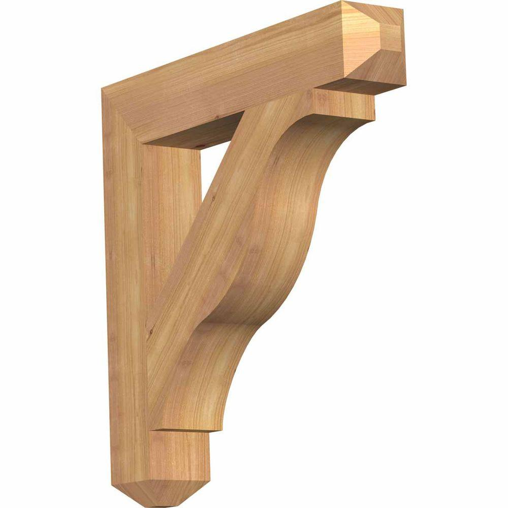 Ekena Millwork 3.5 in. x 22 in. x 22 in. Western Red Cedar Funston Craftsman Smooth Bracket