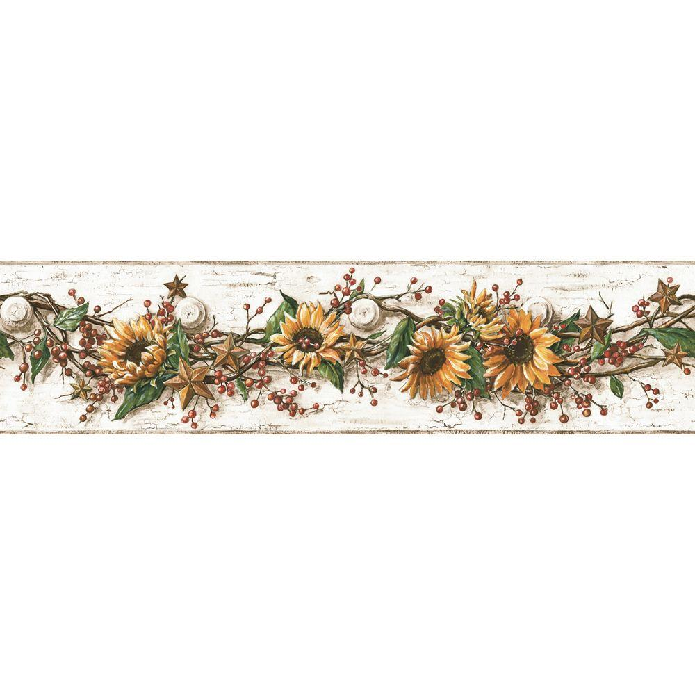 York wallcoverings sunflower wallpaper border cb5516bd for Wallpaper borders for your home
