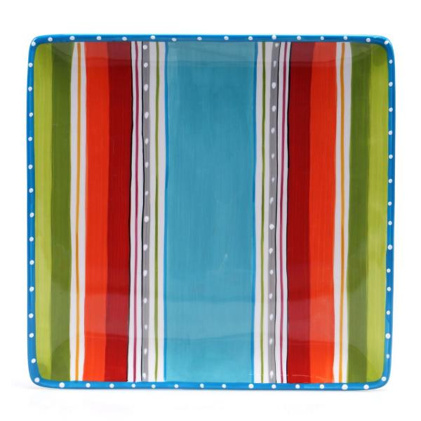 Mariachi 12.5 in. Square Serving Platter in Multi-Colored