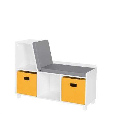 Kids White Storage Bench with Cubbies with Golden Yellow Bins (2-Piece)