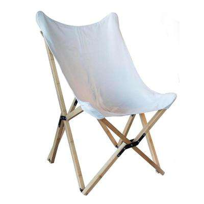 White Canvas and Bamboo Butterfly Chair