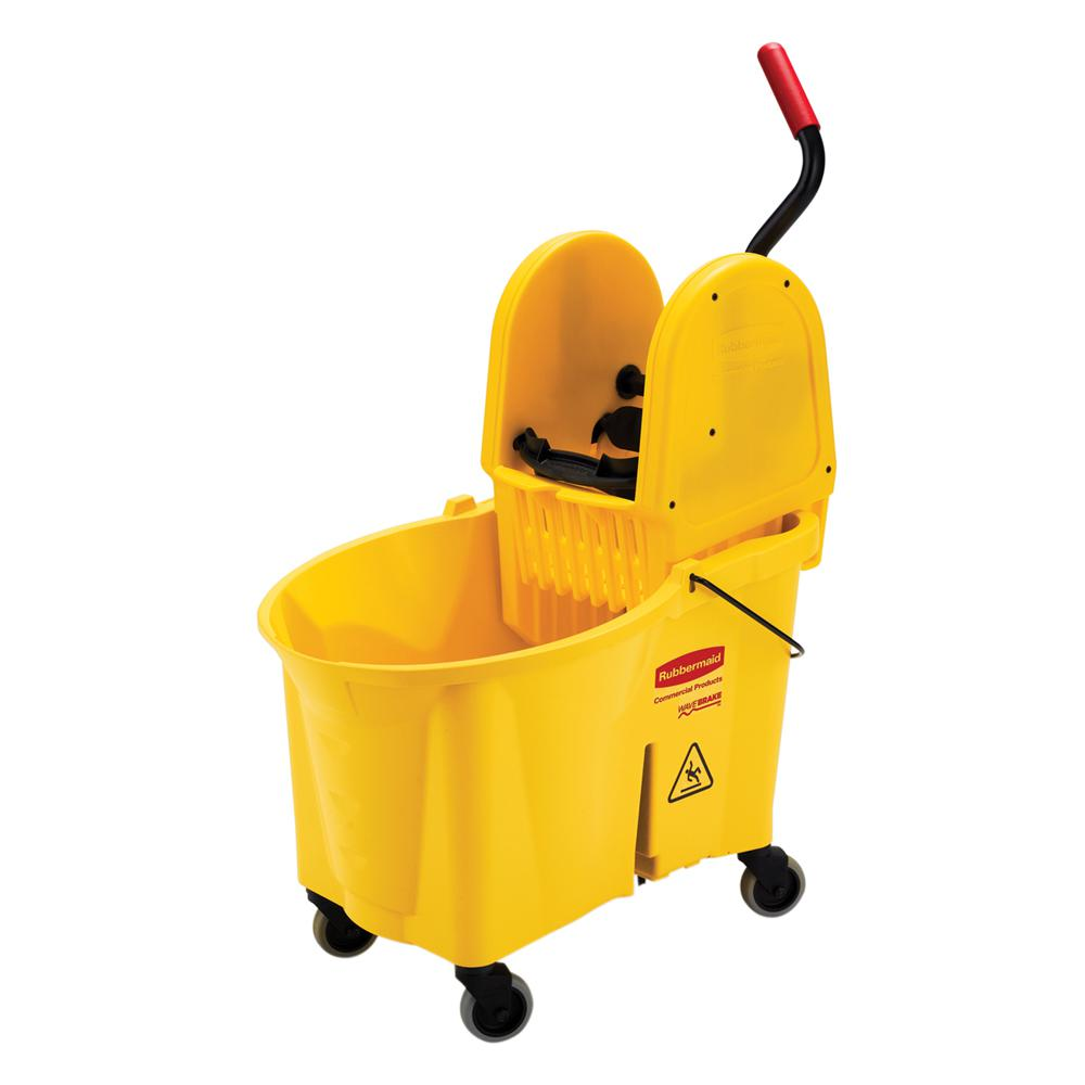 Rubbermaid Commercial Products Wave Brake 44 Qt. Yellow Down-Press Combo Mop Bucket and Wringer System