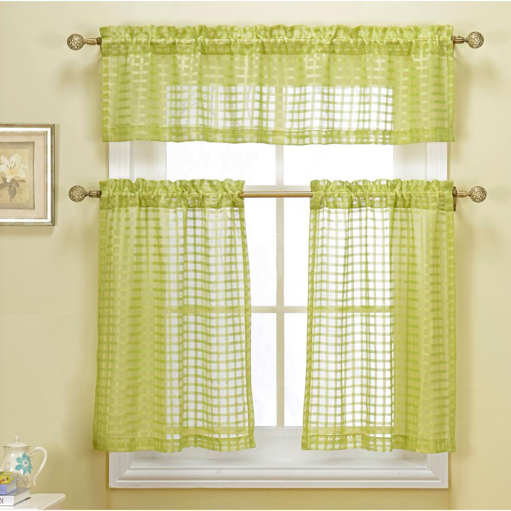 Duck River Cleo Check Sage Faux Linen Kitchen Curtain - 60 in. W x 16 in. L  (2-Piece)