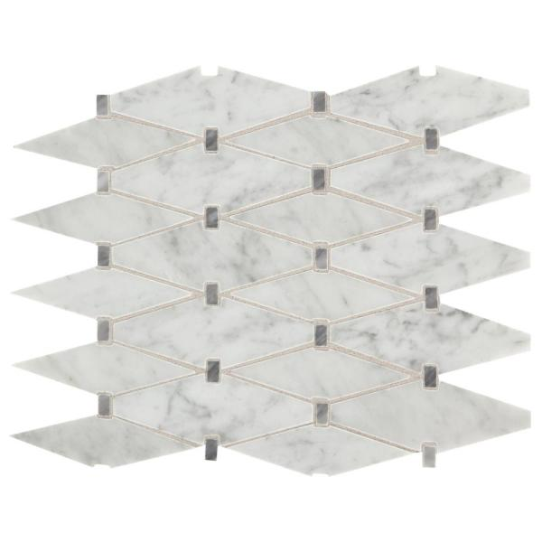 Premier Accents Eclipse Gray Diamond 11 in. x 15 in. x 8 mm Stone Mosaic Floor and Wall Tile (0.94 sq. ft. / piece)