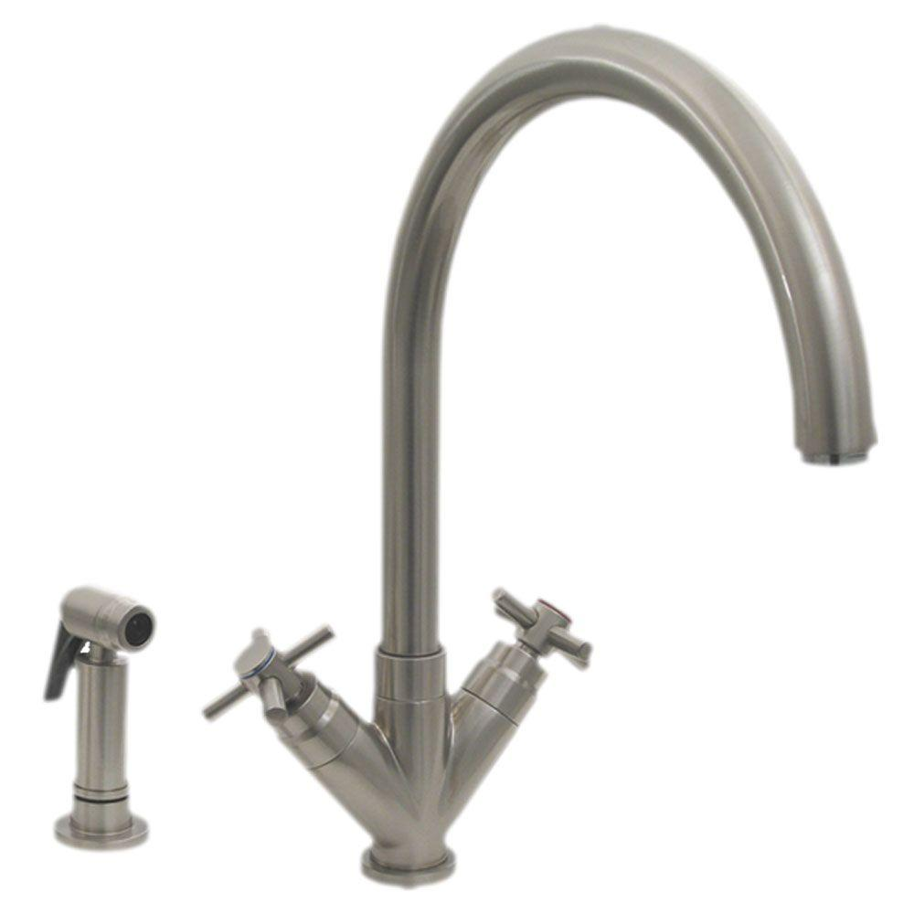 Whitehaus Collection 2 Handle Side Sprayer Kitchen Faucet In Brushed Nickel