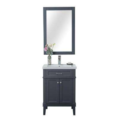 Seattle 24 in. W x 18.25 in. D x 34.75 in. H Vanity in Gray with Porcelain Vanity Top in White with White Basin