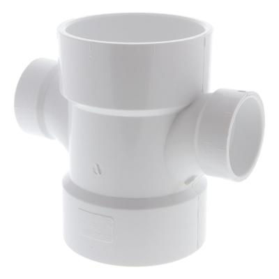 3 in. x  3 in. x 1-1/2 in. x 1-1/2 in. PVC DWV All Hub Double Sanitary Tee