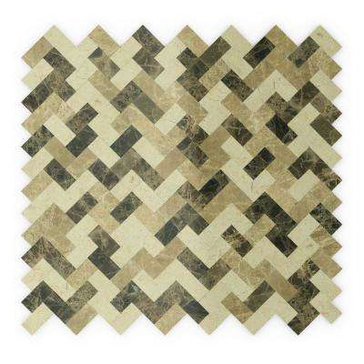 Trail Mix Mixed Browns 12.09 in. x 11.65 in. x 5mm Marble Self-Adhesive Wall Mosaic Tile (0.98 sq. ft./Each)