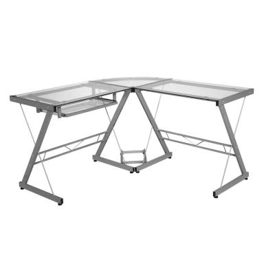 51 in. L-Shaped Silver/Clear Computer Desk with Keyboard Tray