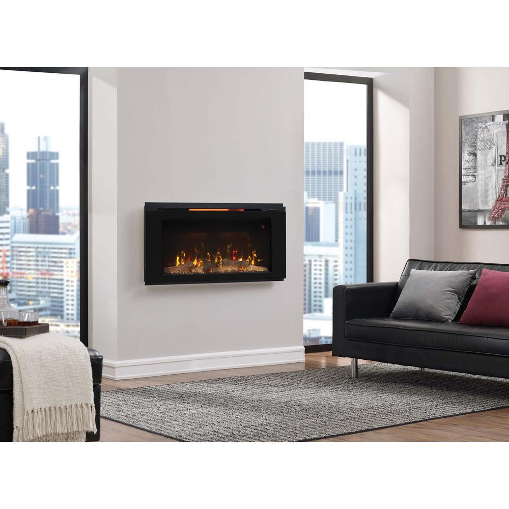 Helen 36 in. Wall-Mount Electric Fireplace in Black