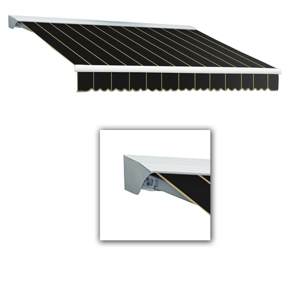 AWNTECH 10 ft. LX-Destin with Hood Left Motor with Remote Retractable Acrylic Awning (96 in. Projection) in Black Pin