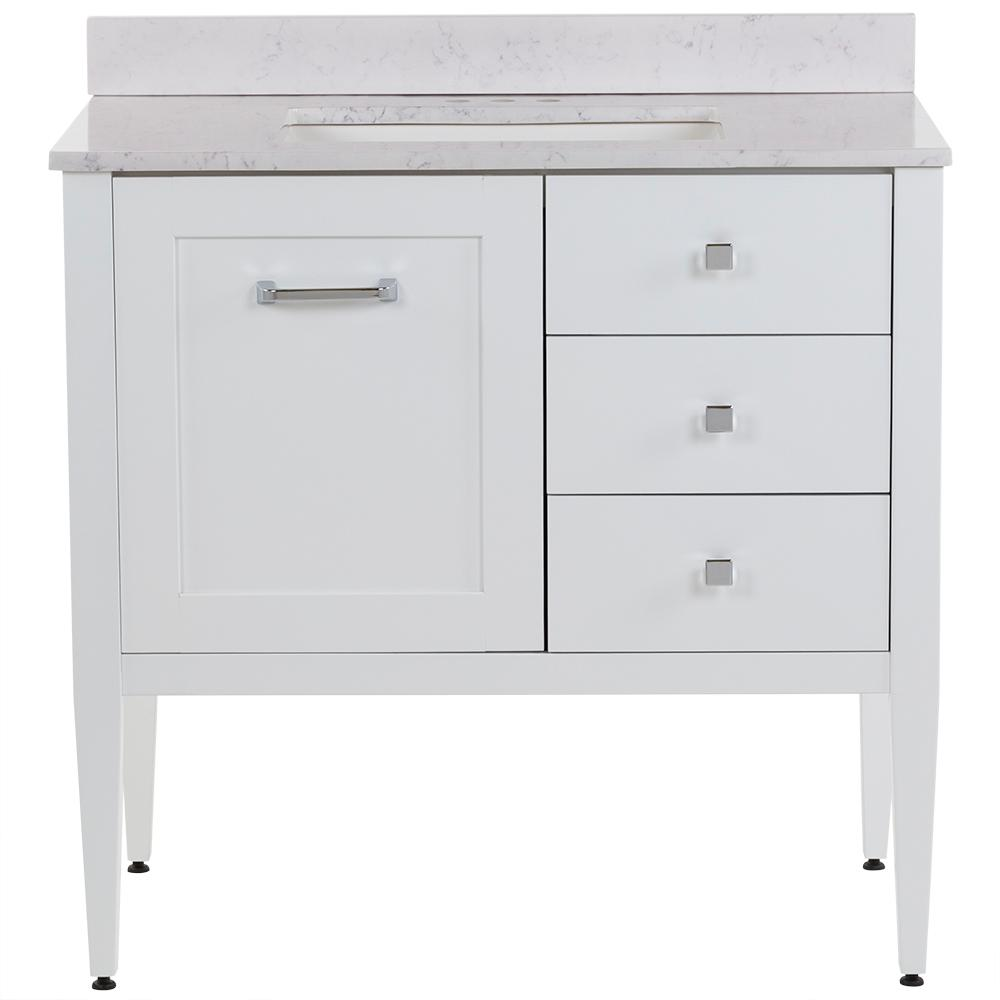 MOEN Hensley 37 in. W x 22 in. D Bath Vanity in White with Stone Effects Vanity Top in Pulsar with White Basin