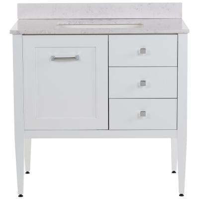 Hensley 37 in. W x 22 in. D Bath Vanity in White with Stone Effects Vanity Top in Pulsar with White Sink
