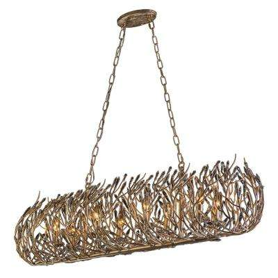 Bask 8-Light Gold Dust Linear Pendant with Clear Premium Crystal Accents