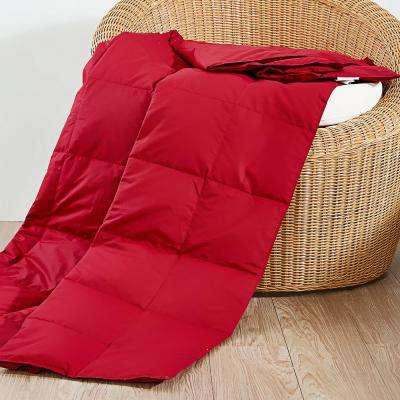 50 in. x 70 in. Red Natural Down and Feather Throw
