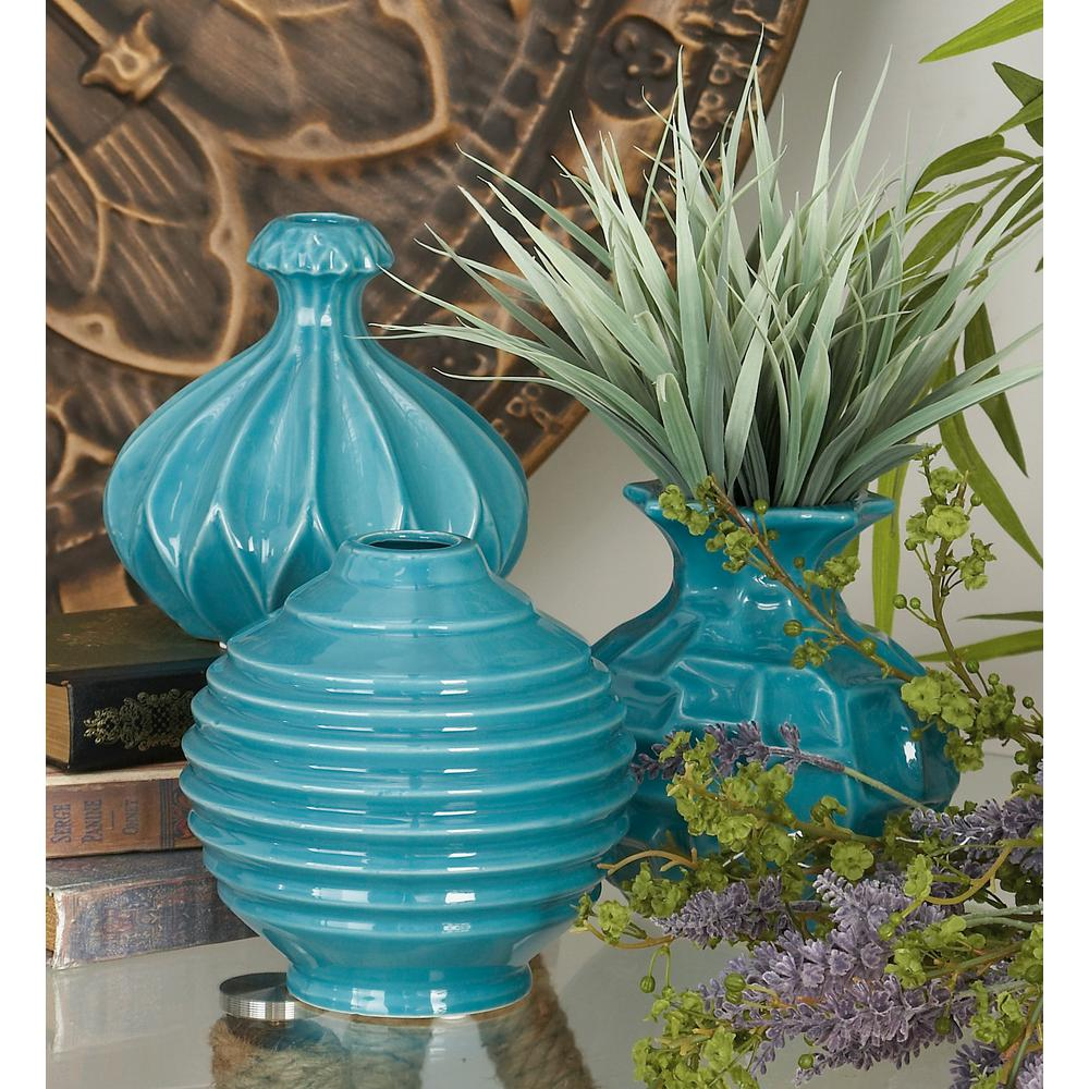 6 in modern teal blue ceramic decorative vases set of 3 92578 modern teal blue ceramic decorative vases set of 3 92578 the home depot reviewsmspy