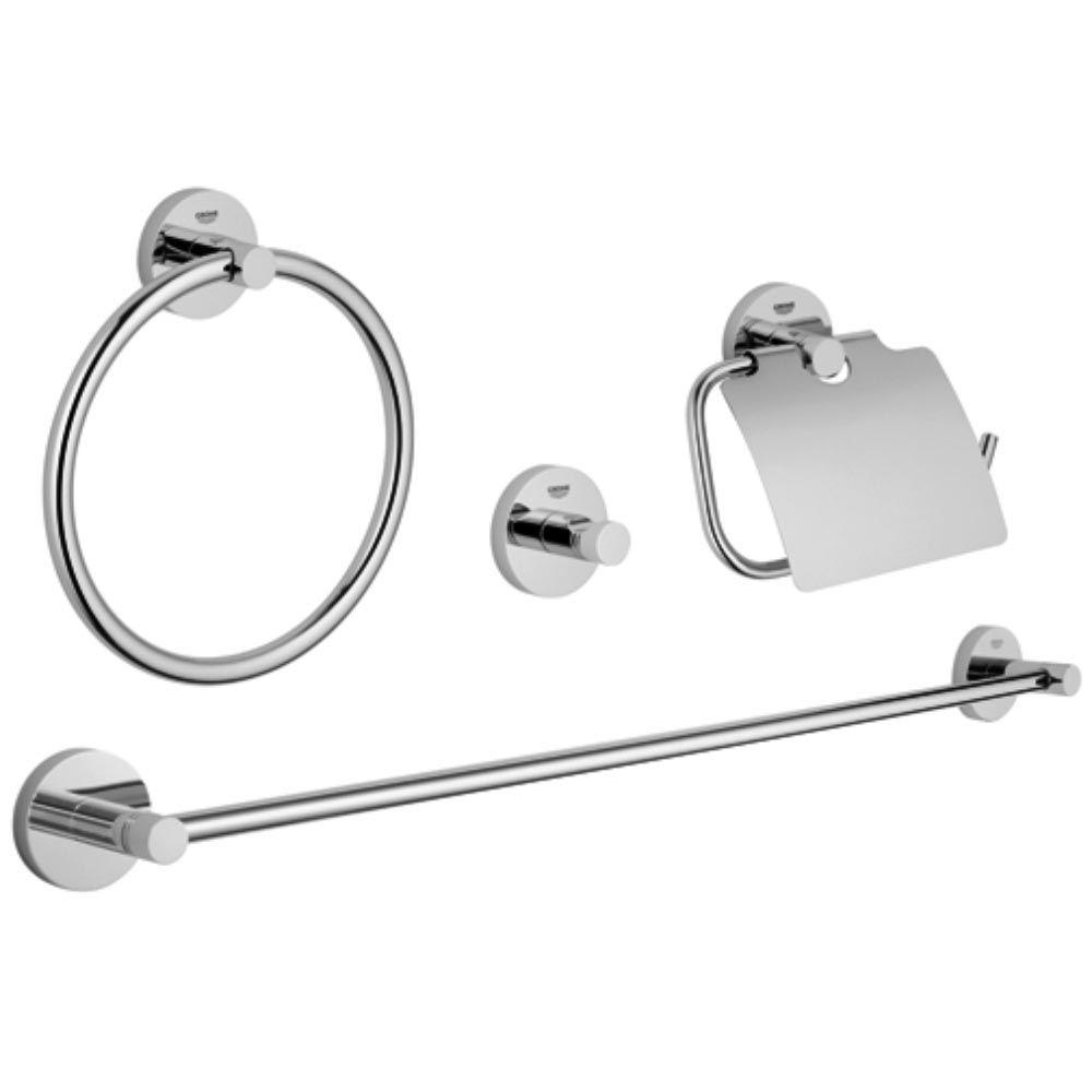 Grohe Essentials Master Bathroom 4 Piece Bath Hardware Set In Starlight Chrome 40776001 The Home Depot