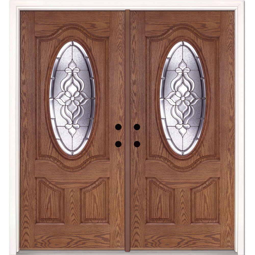 74 in. x 81.625 in. Lakewood Zinc 3/4 Oval Lite Stained Medium Oak Left-Hand Fiberglass Double Prehung Front Door