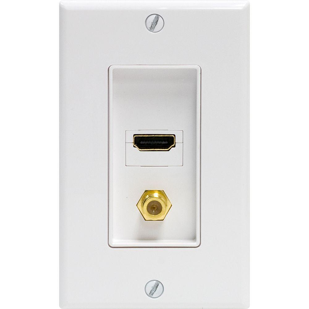 GE UltraPro 1 HDMI and 1 Coax Combination Wall Plate - White
