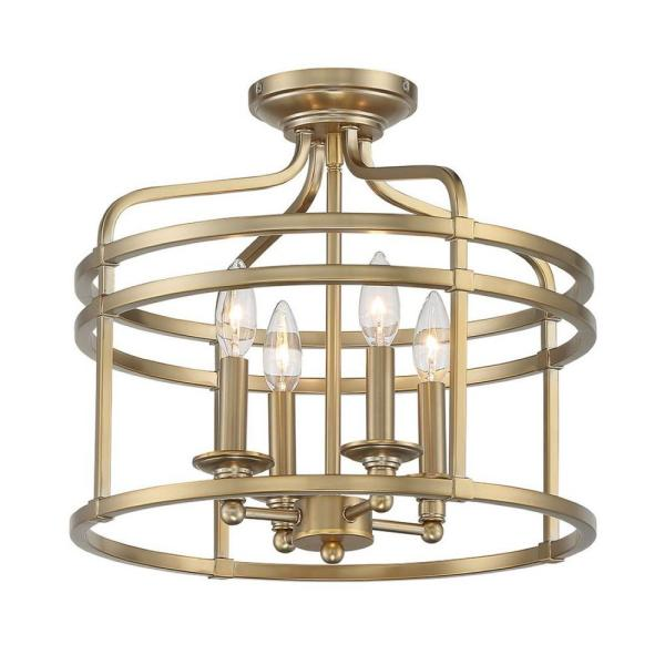 Covent Park 4-Light Brushed Honey Gold Semi Flush