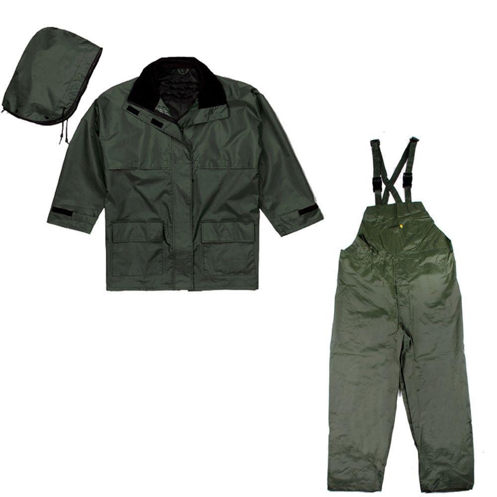 XX-Large Green Rip Stop Nylon Rain Suit (3-Piece)