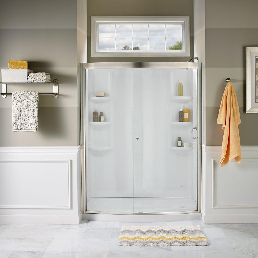American Standard Ovation 48 in. x 72 in. Semi-Frameless Sliding Shower Door in Satin Nickel and Clear Glass