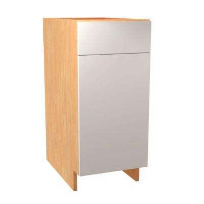 Salerno Ready to Assemble 15 x 34.5 x 24 in. Base Cabinet with 1 Soft Close Door and 1 Soft Close Drawer in Polar White