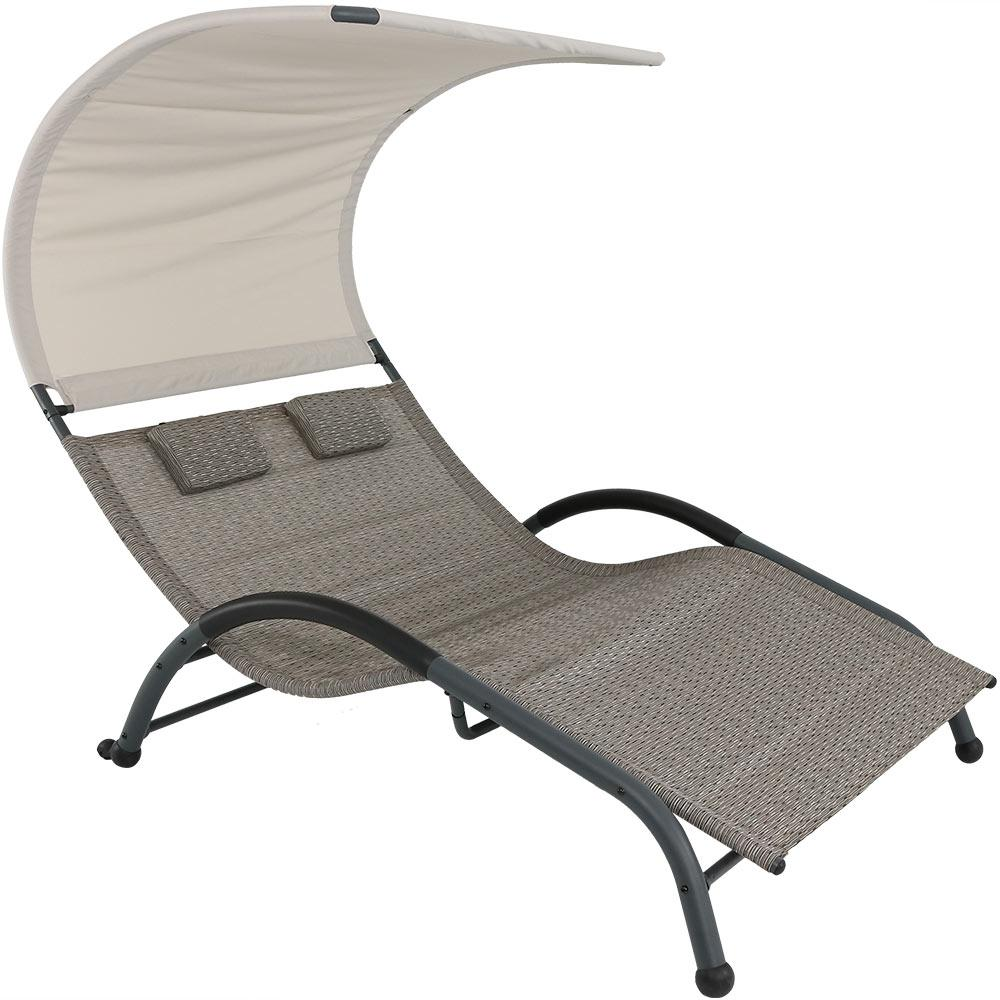 Sunnydaze Decor Sienna Steel Outdoor Double Lounge Chair With Canopy And Pillows