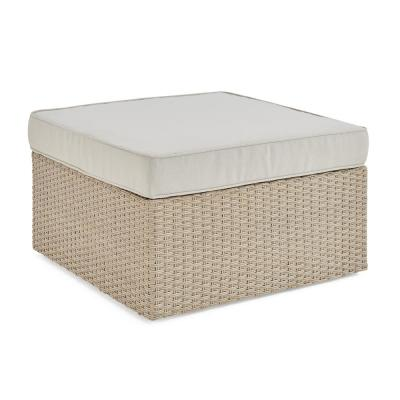 Canaan Brown All-Weather Wicker Outdoor Square Ottoman with Cream Cushion