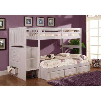 White Twin over Full Staircase Solid Pine Bunkbed with 7-Drawers