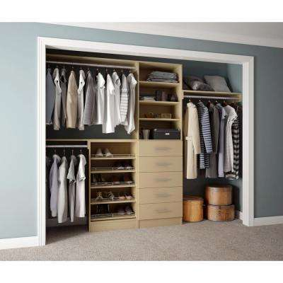 Assembled Reach-In 15 in. D x 120 in. W x 84 in. H Calabria in an Almond Melamine 11-Shelves Closet System