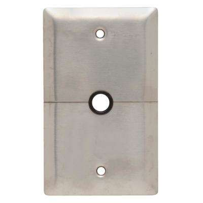 302 Series 1-Gang Horizontal Split 1/2 in. Hole Coaxial Wall Plate, Stainless Steel