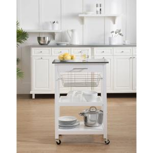 Sunjoy Linda Rolling Kitchen Island Cart with Storage Shelf ...