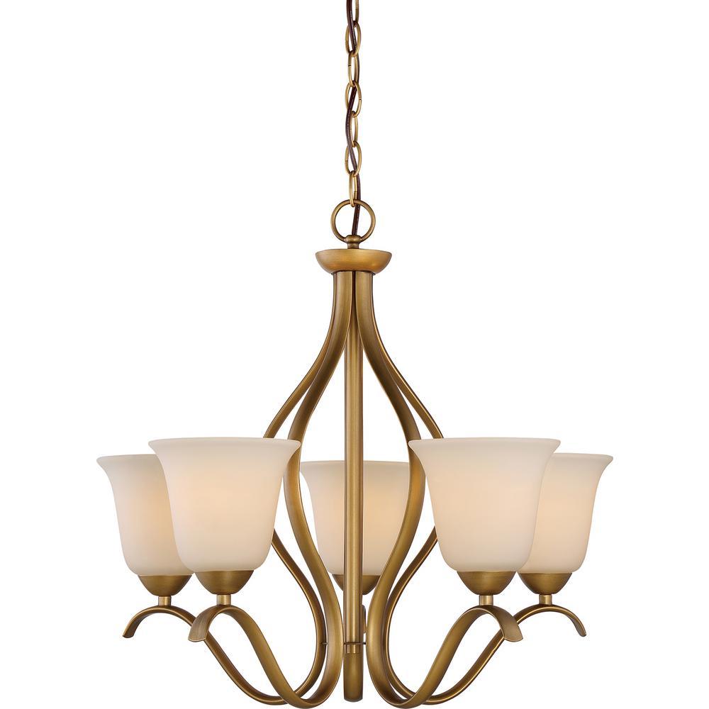 Filament design 5 light natural brass chandelier with white glass filament design 5 light natural brass chandelier with white glass shade aloadofball Gallery