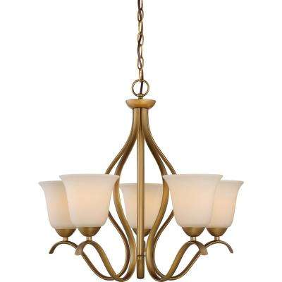 5-Light Natural Brass Chandelier with White Glass Shade