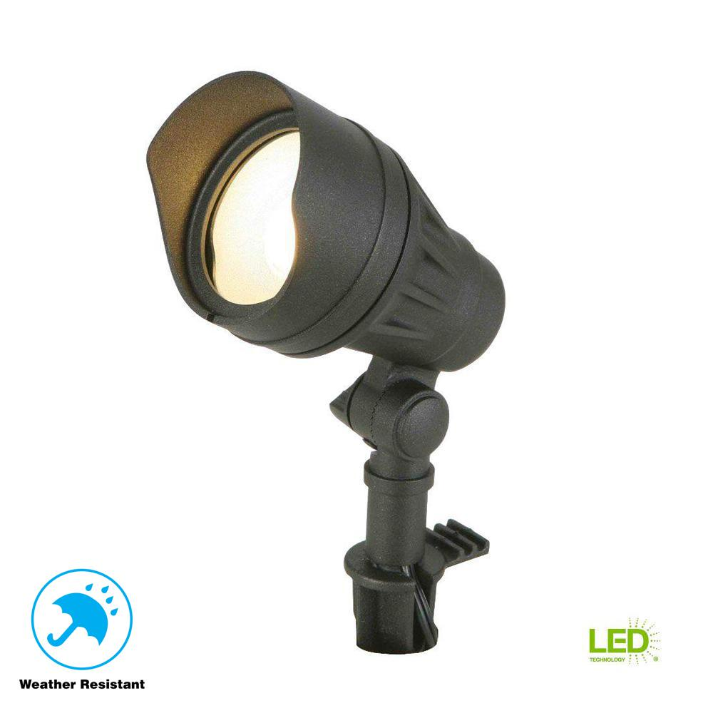 Landscape Flood Lights Spotlights: Hampton Bay Low-Voltage 50-Watt Equivalent Black Outdoor
