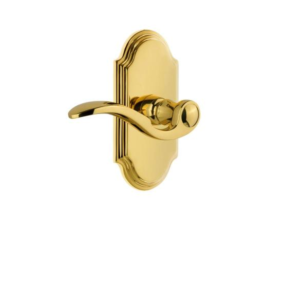 Grandeur Arc Plate 2 3 8 In Backset Polished Brass Privacy Bed Bath With Bellagio Door Lever 811569 The Home Depot