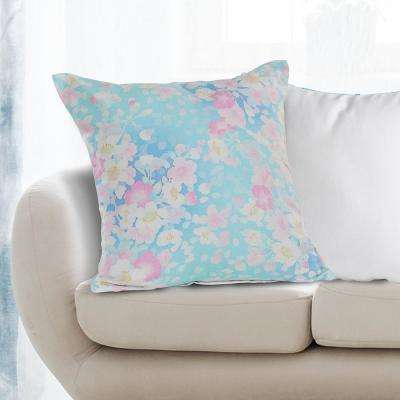 Fresh Floral Fantasy 18 in. x 18 in. Aqua Blue/Pink Throw Pillow