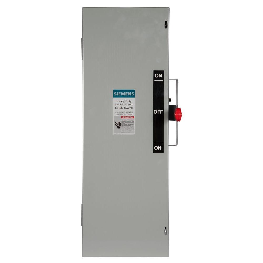 Siemens Double Throw 60 Amp 240-Volt 3-Pole Indoor Fusibl...