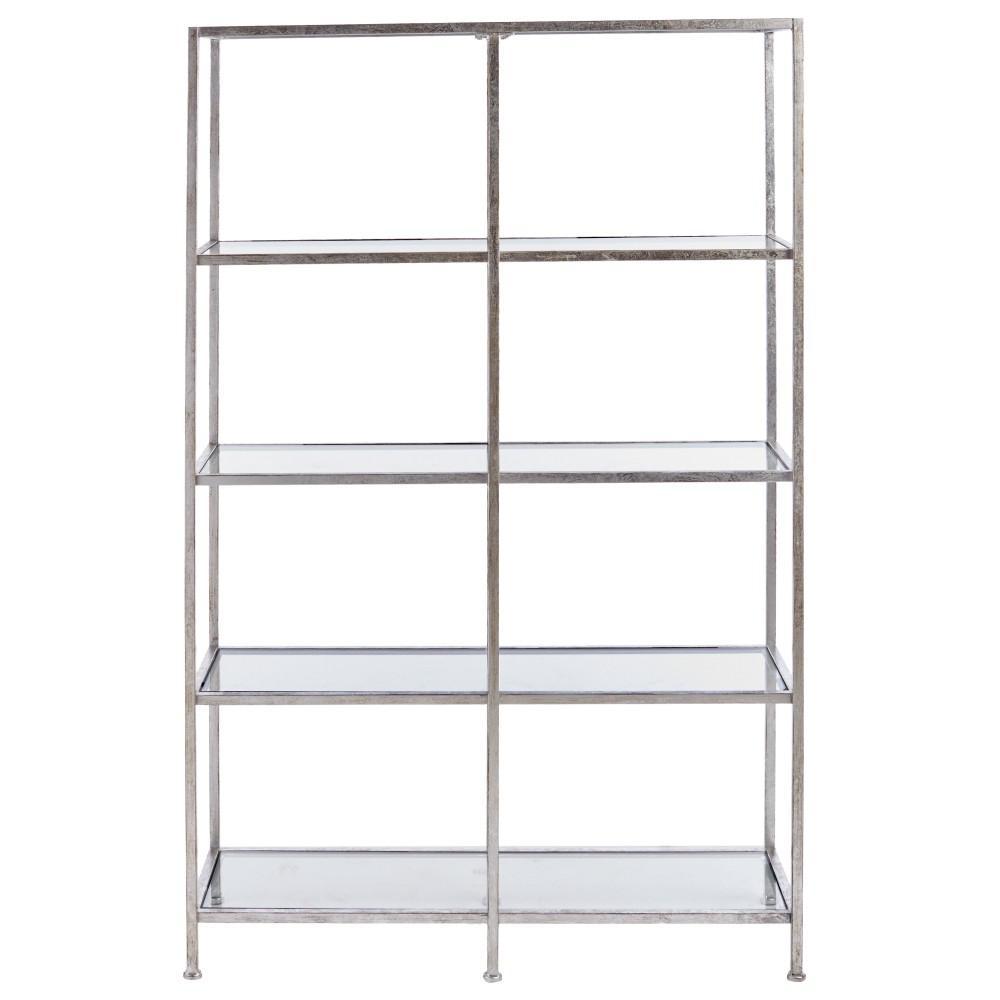 Bella Aged 40 in. Wide Silver Glass Bookcase