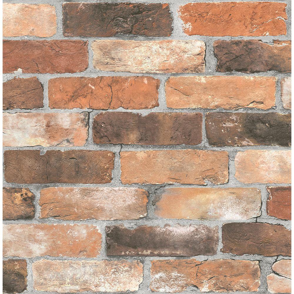 Brewster 56.4 sq. ft. Rustin Rust Reclaimed Bricks Wallpaper 2701-22300