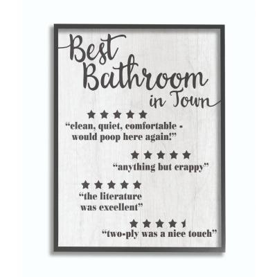 """16 in. x 20 in. """"Five Star Bathroom Black And White"""" by Daphne Polselli Framed Wall Art"""