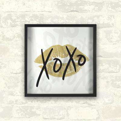 12 in. x 12 in. XOXO Gold 1-Piece Shadowbox with Glitter