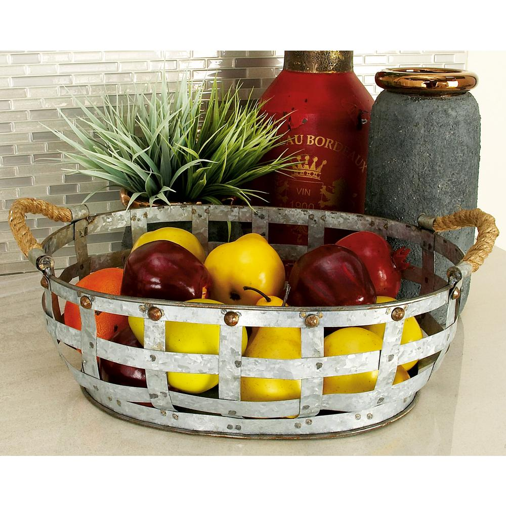 Farmhouse Gray Decorative Open-Woven Basket Trays (Set of 2)