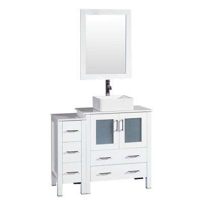 42 in. W Single Bath Vanity in White with Pheonix Stone Vanity Top with White Basin and Mirror